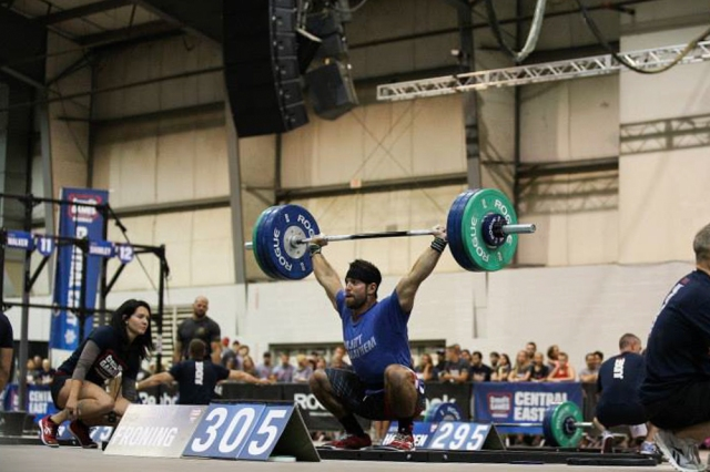 Two Time CrossFit Winner, Rich Froning, 3 reps of 305lbs Overhead Squats (©CrossFit, Inc)